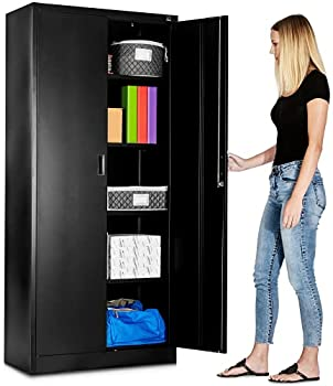 Fedmax Metal Garage Storage Cabinet - 71-inch Tall Large Industrial Locker with Adjustable Shelves & Locking Doors - Steel Utility Cabinets for Office Classroom Pantry - Black