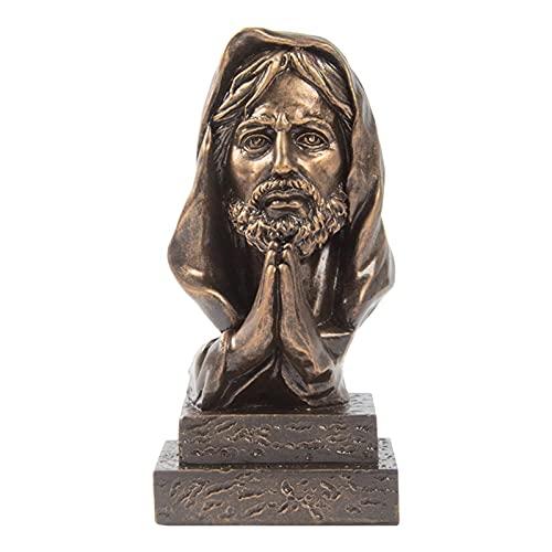TLM Toys Estatua de Jesús, escultura religiosa cristiana de Jesús, escultura católica de resina, decoración para salón, oficina, escritorio