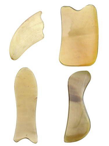 PESOENTH Gua Sha Scraping Massage Tool Gua Sha Scraping Massage Tool Hand Made Buffalo Horn Guasha Scraper Board Scraping Back The Best Traditional Chinese Gua Sha Physiotherapy Tools (Pack of 4)