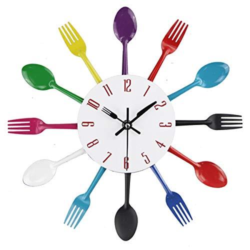 Creatieve Bestek Keuken Wandklok Met Mes Minuut Hand En Vork Uur Hand Voor Thuis Keuken Restaurant Decoratie, Maat 33 * 33Cm,Multicolor