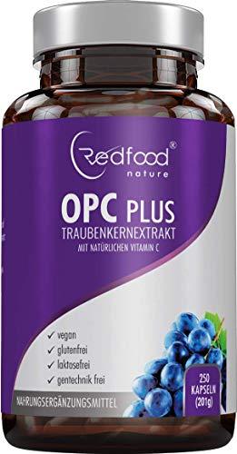 OPC Traubenkernextrakt • OPC Plus mit natürlichem Vitamin C • 180 Kapseln (5 Monatsvorrat) • 375 mg Traubenkernextrakt • 300 mg reines OPC • 125 mg Acerola Extrakt • ohne Magnesiumstearat