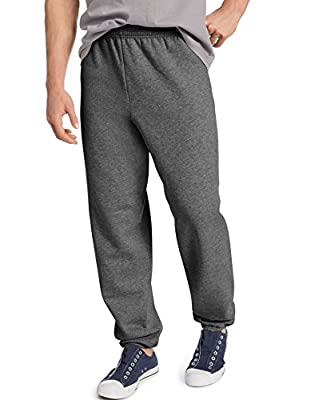 Hanes Men's EcoSmart Fleece Sweatpant, Charcoal Heather, Small