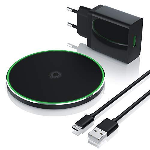 CSL - Fast Wireless Charger 10W USB Ladegerät 30W QC 3.0 18W - SchnellLadegerät - Induktionsladegerät inkl. Netzteil - für Smartphones und Tablets Samsung Galaxy S8 S9 Note 5 8 9 iPhone 8 8S X XS