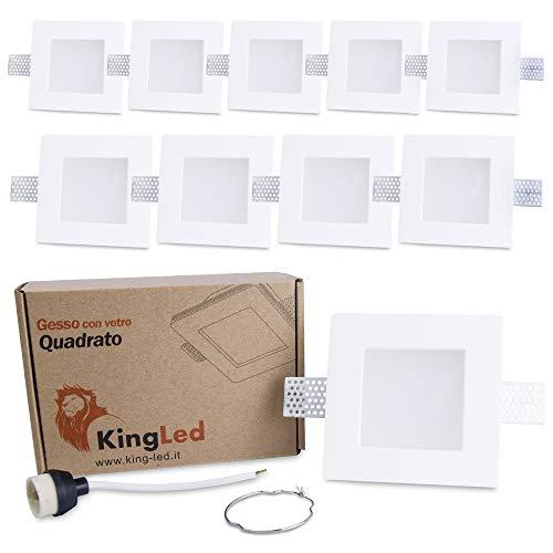 KingLed - 10x Portafaretto da Incasso In Gesso Ceramico Quadrato Con Vetrino Opalino per Faretto Gu10 e Mr16 - Dimensione 120x120x64mm Cod. 1425