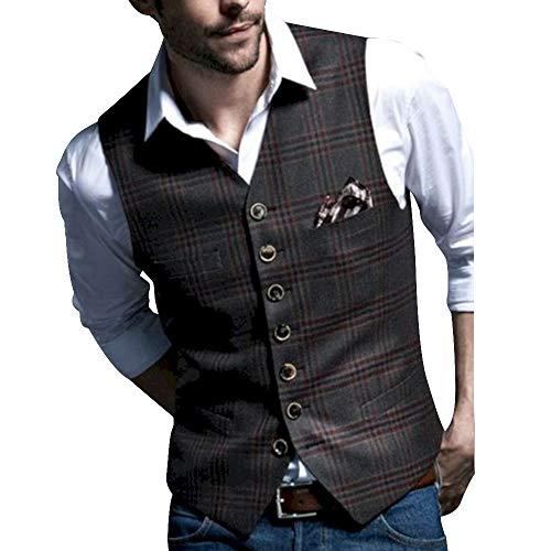 OEAK Herren Weste Top V Ausschnitt Anzugweste Blazer Tweed Ärmellos Sakko Geschäftsweste Anzugweste mit Zweireihige Knopfleiste