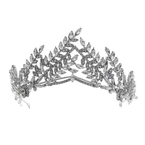 FRCOLOR Cristal Diamante de Imitación Hoja Boda Corona Diadema Accesorios para El Cabello de Novia Mujeres Tiara Tocado Joyería para El Cabello Plata