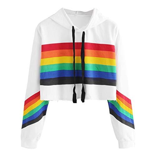 Fhuuly Femme's Manche Longue Sweat à Capuche Rainbow Print Sweatshirt Chemisier
