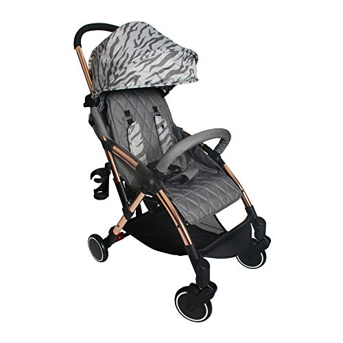 My Babiie MBX4 Dreamiie Samantha Faiers MBX4 Rose Gold Grey Tiger Ultra Light Stroller, Durable, Easy Manoeuvre and Storage Birth to Maximum 15kg, W/Cup Holder, Shoulder Carry Strap, and Raincover