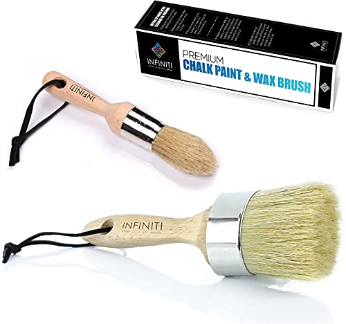Professional Chalk and Wax Paint Brush 2PC Set!!!! Large DIY Painting and Waxing Tool | Smooth, Natural Bristles | Folk Art, Home Décor, Wood Projects, Furniture, Stencils | Reusable