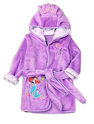Bata Sirenita - Bata de baño Dormitorio - Noche - Pijama - Forro Polar Suave - con Capucha - Personajes - Talla 120-4/5 años - Sirenita - Morado - Ariel