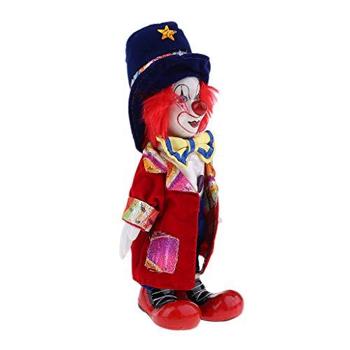 KESOTO Lustige Stehende Porzellan Puppe mit Clown Kostüm, Ornament für Halloween Haus Tisch Dekoration - # 7