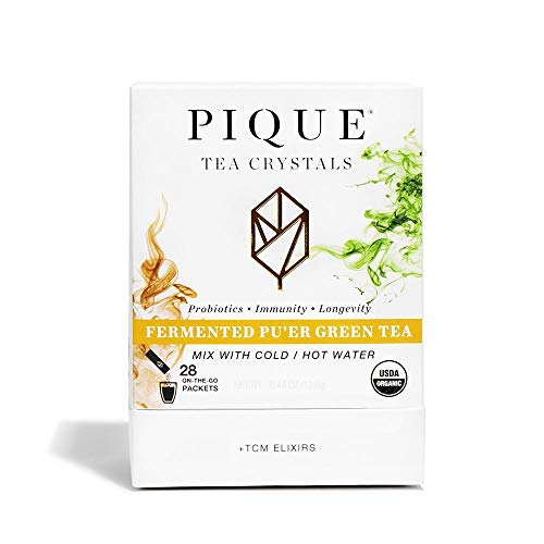 Pique Tea Organic Fermented Pu'erh Green Tea - Immune Support, Energy, Radiant Skin - 1 Pack (28...