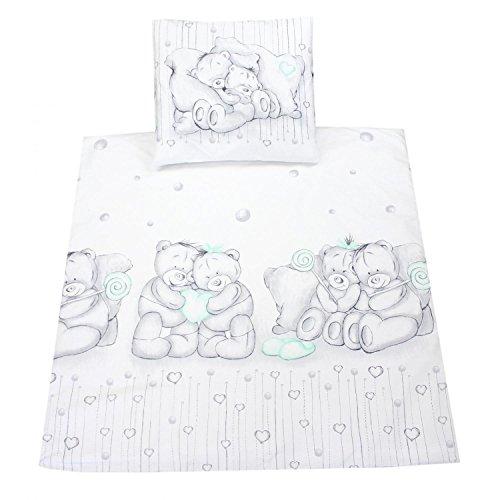 TupTam Unisex Baby Wiegenset 4-teilig, Farbe: Kuschelbären Grau/Mint, Größe: 80x80 cm