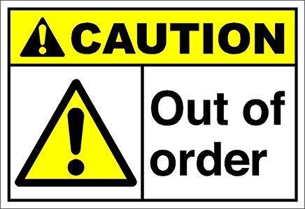 Out of Order Caution OSHA/Ansi-Schild, selbstklebend, Vinyl-Aufkleber, 8 x 12 cm