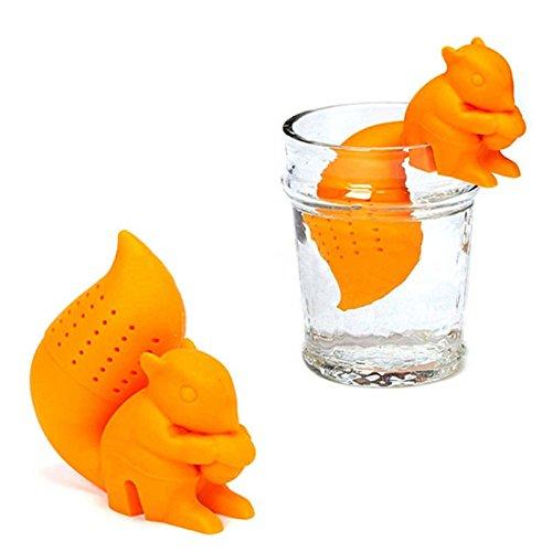 Silikon Nette Eichhörnchen-Form-Tea Leaf Herbal Strainer Filter Infuser Taschen Spielzeug - Orange