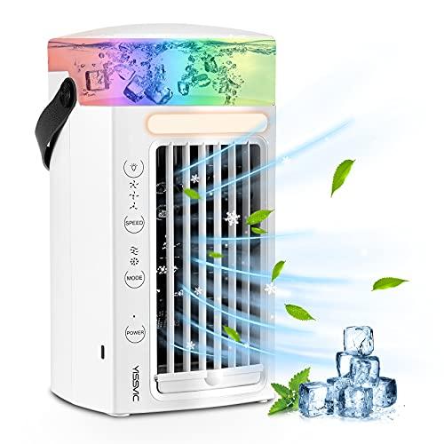 YISSVIC Condizionatore Portatile Climatizzatore Portatile 4 in 1 Air Cooler Umidificatore Purificatore con 7 Colori e 3 velocità per scrivania casa e ufficio
