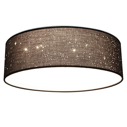 Navaris LED Deckenleuchte rund mit Sterneneffekt - warmweiß - 22 Watt - 14 x 40 x 40cm - Design Stoff Deckenlampe Dunkelgrau mit Montagematerial