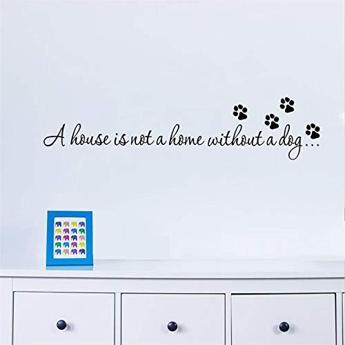 Lamubh Citas Una casa no es un hogar sin un Perro Paw Print Pet Pegatinas de Pared para Sala de Estar Dormitorio Calcomanías Papel Tapiz DIY Decoración del hogar 88cm X 20cm
