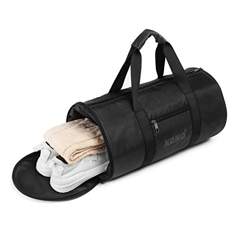 Kono Gym - Travel - Sports - overnight Holdall weekend Bag with Handles and Shoes Compartment Durable for Men Women 30L (Black)