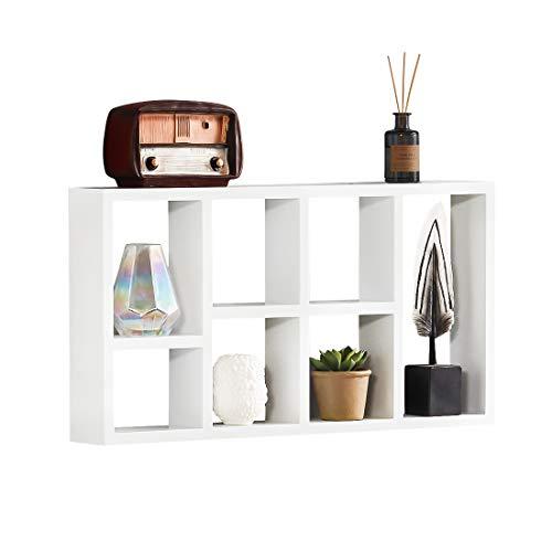 Sunon Wandregal dekoratives Hängeregal schwebend aus MDF-Holz für Küche, Bad, Wohnzimmer, Kinderzimmer, 61x31.5x7.6CM,Weiß