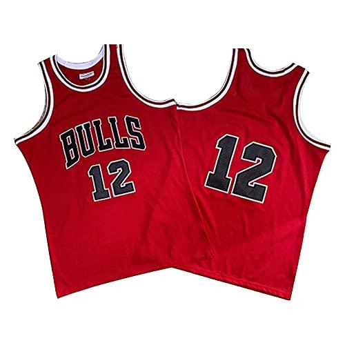 QJL Jerseys de Baloncesto de Jordan para Hombres, Bull Jordan Swordan Swordan 12# City Jersey - Versión Bordada roja (S-XXL) XXL