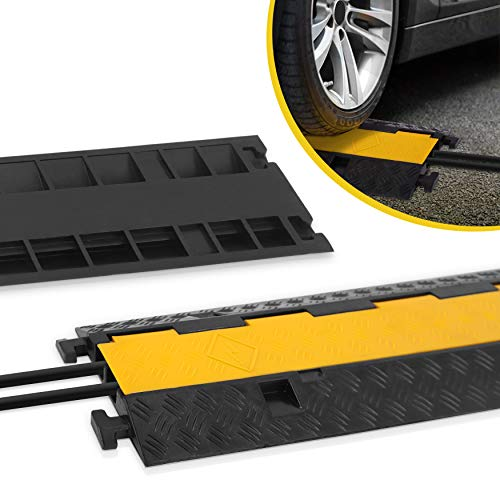 Durable Cable Ramp Protective Cover - 2,000 lbs Max Heavy Duty Hose & Cable Track Protector w/ Flip-open Top Cover & 2 Channel Groove Design - Cable Concealer for Outdoor & Indoor Use - Pyle PCBLCO26