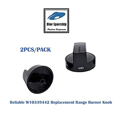 2PCS/PACK Reliable W10339442 Range/Stove/Oven Knob. Replacement Part Fits for Whirlpool Range/Stove/Oven and Replaces 2311008, AH3507188, EA3507188, PS3507188, WPW10339442, LP14142