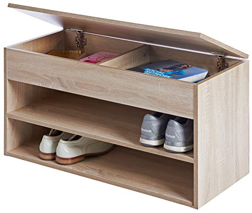 ts-ideen Schuhregal Schuhschrank Bad Flur Diele Standregal Eiche Sonoma Sitzbank 42 x 80 cm