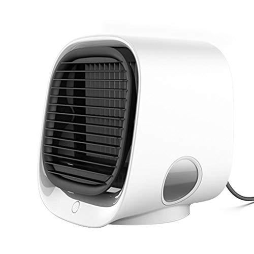 Verloco Mini-ventilator voor airconditioning, met negatieve ionen, bureaukoeler, USB, luchtbevochtiging en koeling van de ventilator, zacht voor het filteren van lucht, vocht, koelen in de zomer