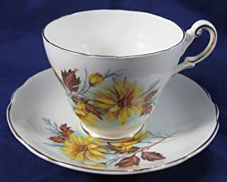 Regency English Bone China Yellow Aster Brown Leaves Pattern Tea Cup and Saucer Set