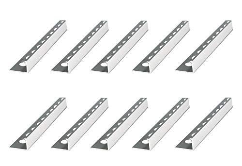 50 METER – Höhe: 8mm PREMIUM FUCHS Fliesenschiene Winkelprofil Aluminium Eloxiert silber matt – 1mm Stärke – 250cm Schiene