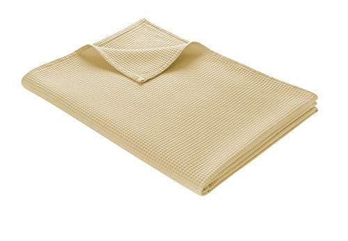 WOHNWOHL Tagesdecke 150 x 200 cm • Waffelpique leichte Sommerdecke aus 100% Baumwolle • Luftige Sofa-Decke vielseitig einsetzbar • Pflegeleichte Wohndecke • Baumwolldecke Farbe: Beige