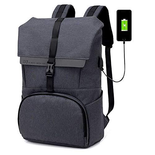 UKKO 2020 Nueva Mochila Recargable USB Inteligente para Hombre, Bolsa De Ordenador con Colchón De Aire Impermeable Y De Gran Capacidad 18 Pulgadas/Gris Oscuro