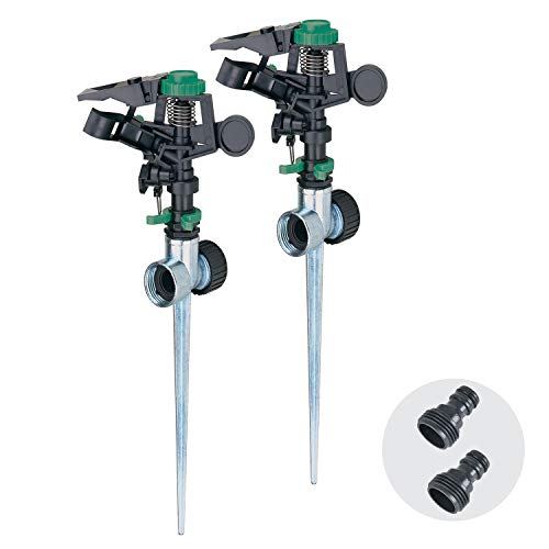 Melnor 65113-AMZ Pulsating Sprinklers 2 pc QuickConnect Product Adapters, Amazon Bundle, Metal Spike, 2 Pack