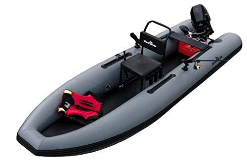 Great White Fishfinder400 - Aufblasbares Fischerboot, Tragbares Leichtgewicht, Abnehmbarer und Schwimmender Stuhl, Drehbare Rutenhalter, Sicherer, Katamaran-Rumpf, Fiberglas-Riegel, PCV-Rohre