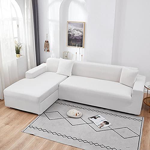 Funda Sofa 4 Plazas Chaise Longue Blanco Fundas para Sofa con Diseño Elegante Universal,Cubre Sofa Ajustables,Fundas Sofa Elasticas,Funda de Sofa Chaise Longue,Protector Cubierta para Sofá