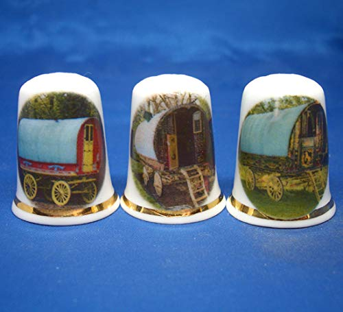 Check Out This Birchcroft Porcelain China Collectable - Set of Three Thimbles - Gypsy Caravans