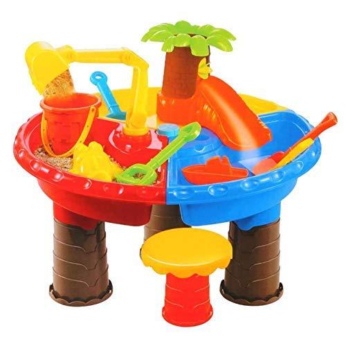 Hearthrousy Caja de arena para niños, juego de 22 piezas, mesa de arena y agua, mesa de arena para niños, mesa de juegos de arena, juego de agua, jardín, pala, juguete de playa para niños