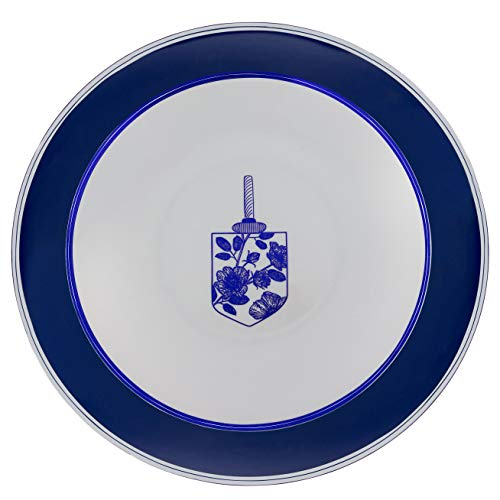 Plasticpro 20 Pieces Combo Plates Set includes 20-7'' inch Plates & 20-10'' inch Plates Blue & Silver Plastic Chanukah Design Party Plates Premium heavyweight Elegant, Disposable, Dishes,