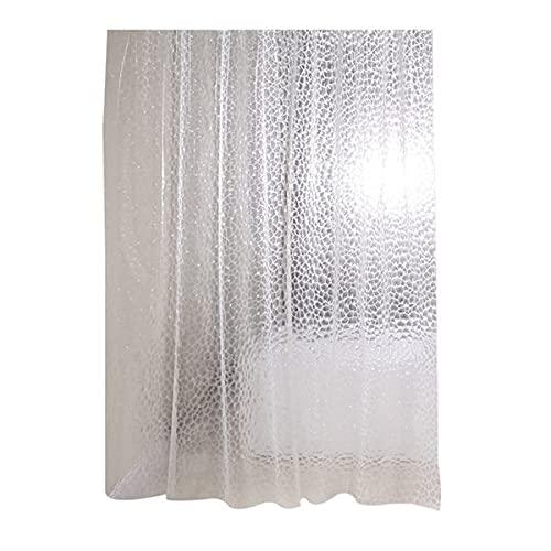 Nephit Cortina de ducha transparente Eva Liner impermeable transparente 3D cuadrada, cortina de baño para cuarto de baño de 12 cm x 180 cm