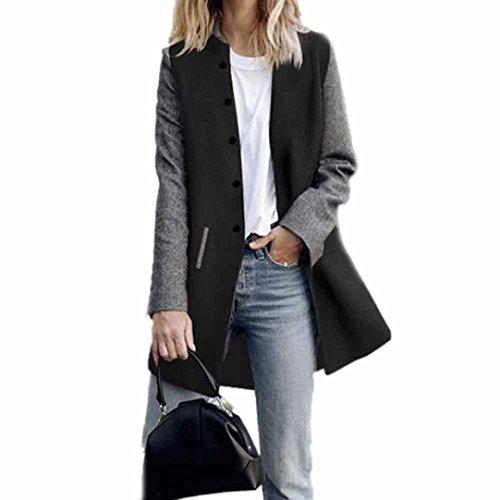 Toamen Cardigan Veste Femmes Long manteau Coutures de couleur contrastée Manche longue Décontractée poids léger (XL, Noir)