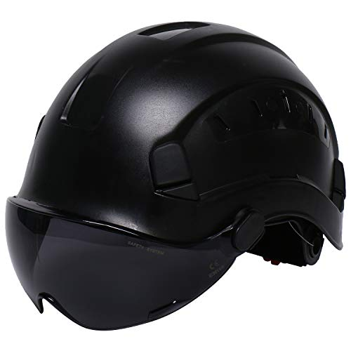 LOHASWORK Safety Hard Hat  Adjustable ABS Climbing Helmet  6Point Suspension Perfect for Riding Climbing and Construction Black02
