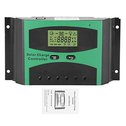 Controlador de carga solar, 12V / 24V LCD Controlador de carga solar 30A Identificación automática Multifunción con pantalla LCD Protección contra sobrecarga Compensación de temperatura