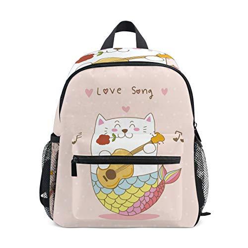 Katze Meerjungfrau Gitarre Liebeslied Kleinkind Rucksack Kinder Leichtgewicht Büchertasche Vorschule Schülerrucksack für 1-6 Jahre die Reise Mädchen Jungs