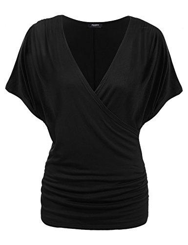 Zeagoo Damen V-Ausschnitt T-shirt Kurzarm Batwing Fledermaus Sommer Shirt Tunika Bluse(EU 42(Herstellergröße:XL), Schwarz