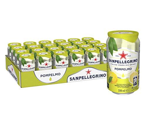 San Pellegrino Pompelmo, Grapefruit Limonade, Hoher Fruchtanteil, 16% frisch gepresste Grapefruit, Leicht herbe Geschmacksnote, Ohne künstliche Farbstoffe, 24er Pack, EINWEG (24 x 0,33l)