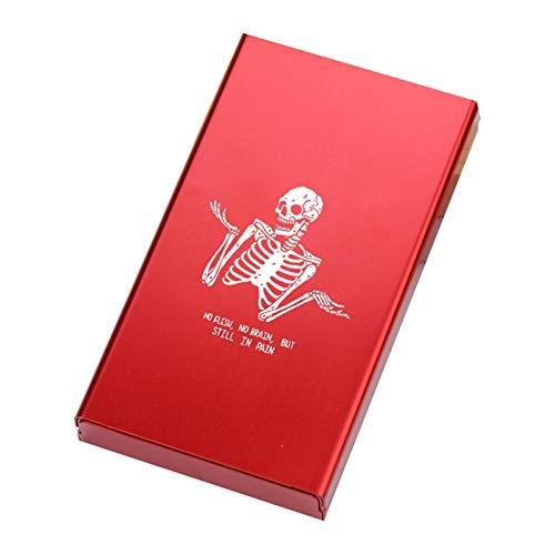 Zigarettenetui HAOAYOU Schlanke Dame Zigarettenschachtel für Frauen Designs Schädel Rauchen Zitate Aluminiumlegierung Metallrutsche Persönlichkeit StillIn Pain Red