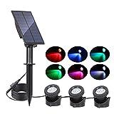 Lámpara solar impermeable al aire libre impermeable al aire libre impermeable al aire libre del estanque RGB Lámpara de proyección (Emitting Color : 3 Heads - RGB)