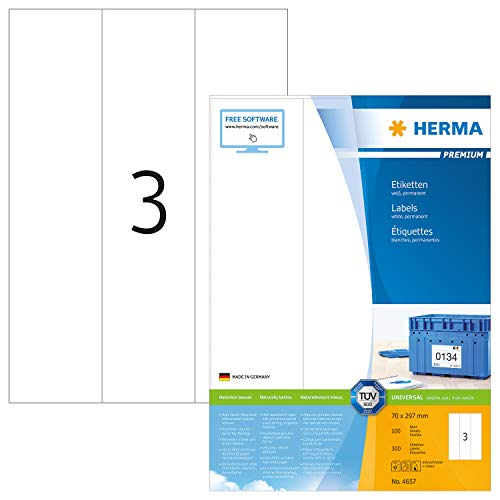 HERMA 4657 Universal Etiketten DIN A4 groß (70 x 297 mm, 100 Blatt, Papier, matt) selbstklebend, bedruckbar, permanent haftende Adressaufkleber, 300 Klebeetiketten, weiß