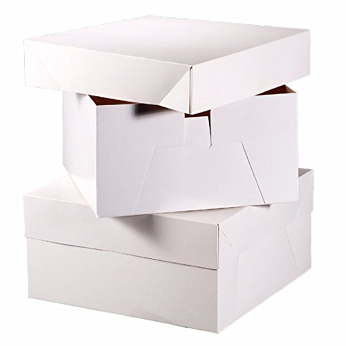 Club Green Square Cake Boxes (Pack of 10) (8in) (White)